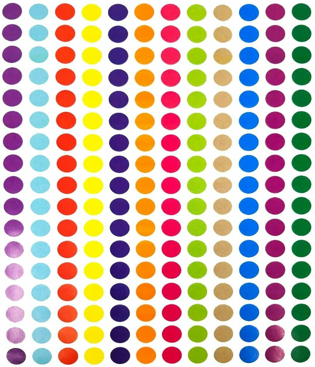 Tag-A-Room 1/2 Inch Round Color Coding Circle Dot Label Stickers, 12 Bright Colors, 8 1/2