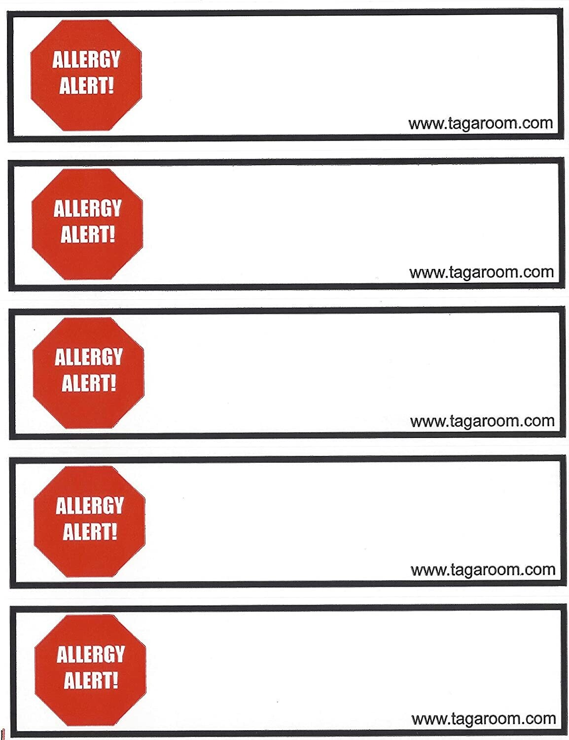 Tag-A-Room Color Coded Home Moving Alert Box Labels Stickers (Allergy Alert)