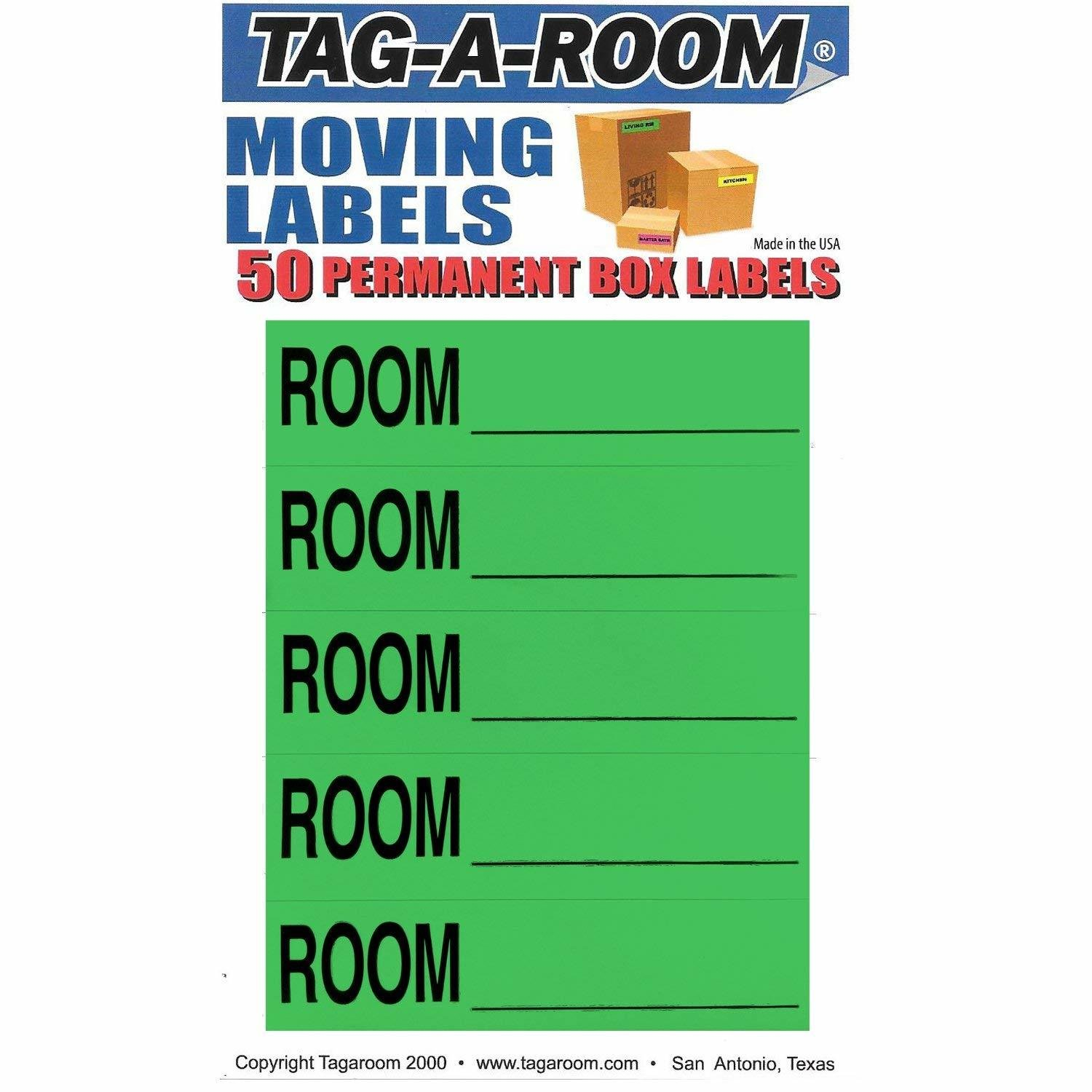 Color Coded Moving Box Labels (Room Blank Green)