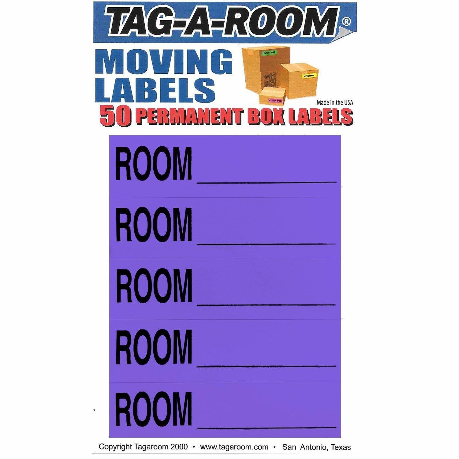 Color Coded Moving Box Labels (Room Blank Purple)