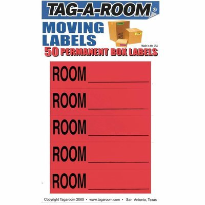 Color Coded Moving Box Labels (Room Blank Red)