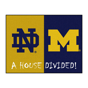 Michigan-Notre Dame House Divided Rug