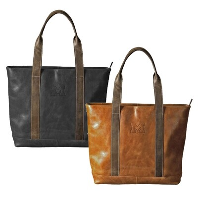 MI Leather Two-Tone Tote