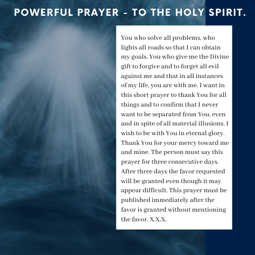 Powerful Prayer To The Holy Spirit