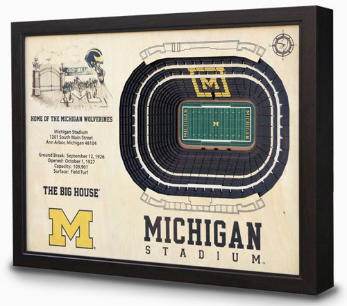 Michigan Stadium View 3D Model Wall Art