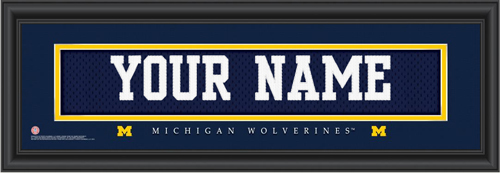 Michigan Jersey Nameplate Personalized Print