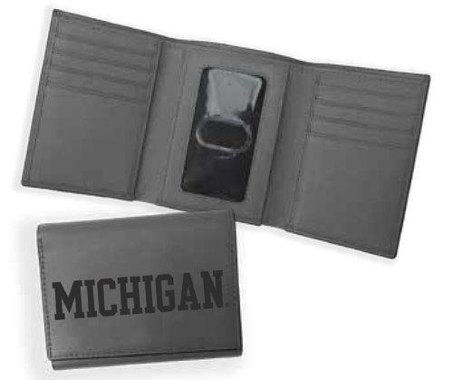 Michigan RFID Tri-Fold Leather Wallet