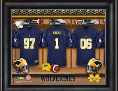 Michigan Personalized Jersey Locker Room Print