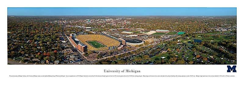 Michigan Stadium Aerial View Panoramic Print