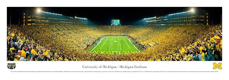 U-M Big House First Night Game vs. Notre Dame Panoramic Print