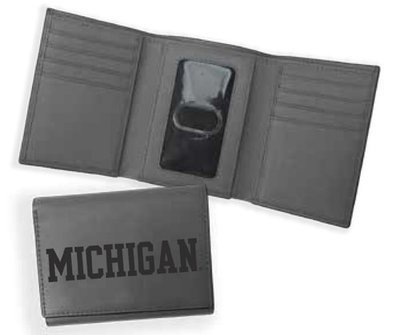 Michigan RFID Tri-Fold Leather Wallet