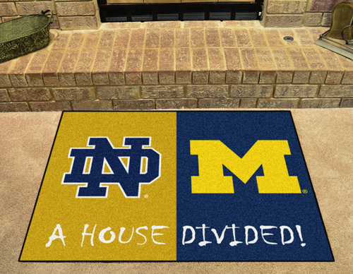 Notre Dame-Michigan House Divided Rug