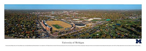 Michigan Stadium Aerial View Panoramic Print