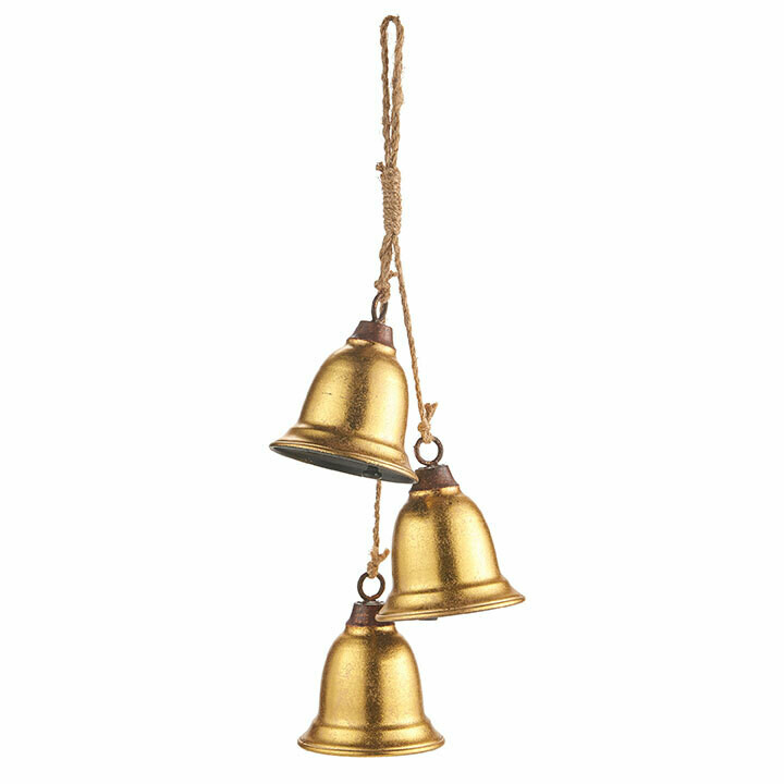 """3-Bell Swag - Gold Metal - 18""""L"""