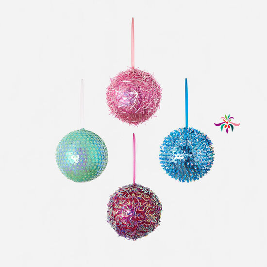 "Beaded Ball Ornament - Blue - 8""Dia"
