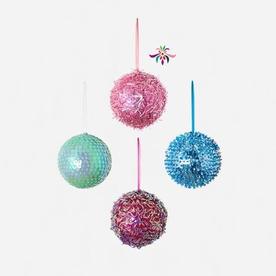 Beaded Ball Ornament - Pink - 8