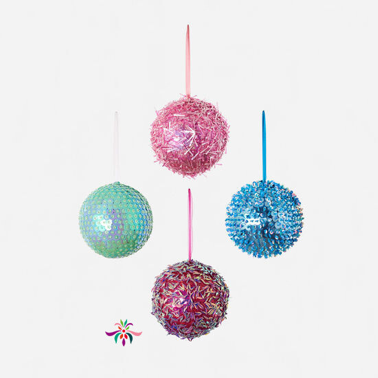 "Beaded Ball Ornament - Raspberry - 8""Dia"