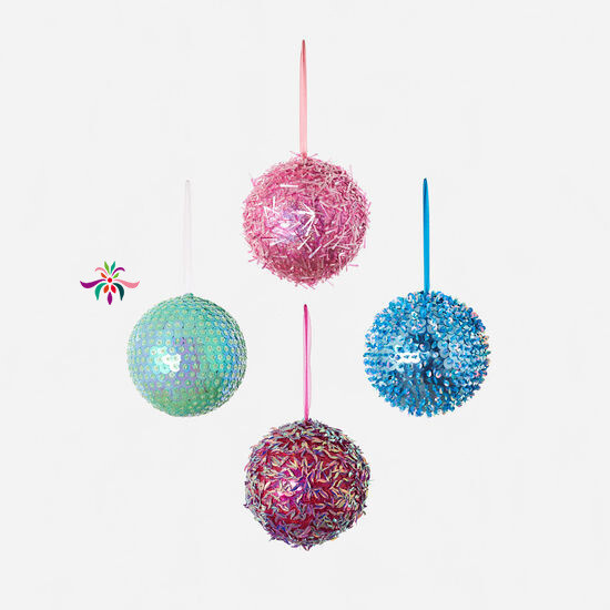 "Beaded Ball Ornament - Mint - 8""Dia"