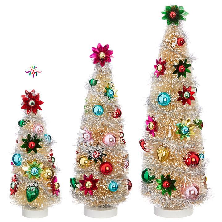 "Bottle Brush Tree - Multicolor - Small - 9.5""H"