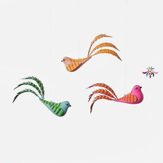 "Bird Ornament - Pink - 5.5""W"