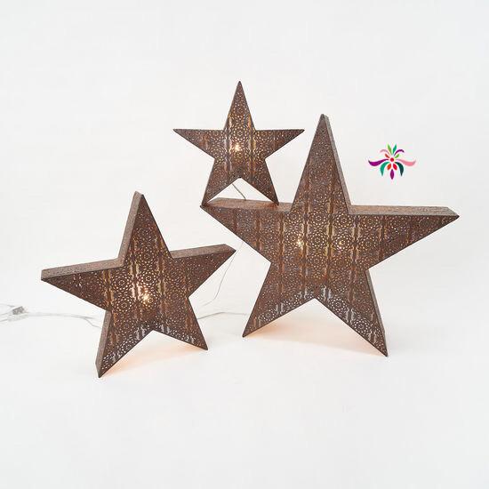 "Bronze Lattice Star Light - Warm White LED - Large - 31.5""H"