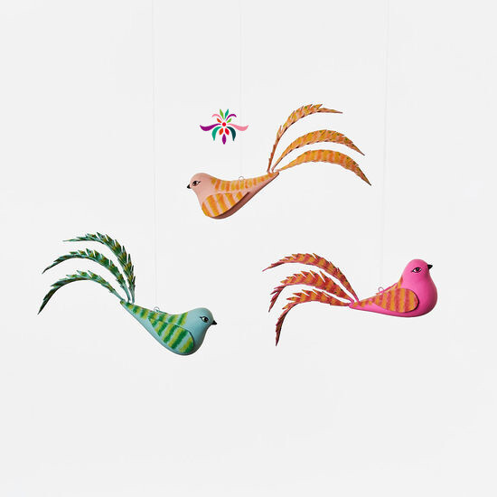"Bird Ornament - Orange - 5.5""W"