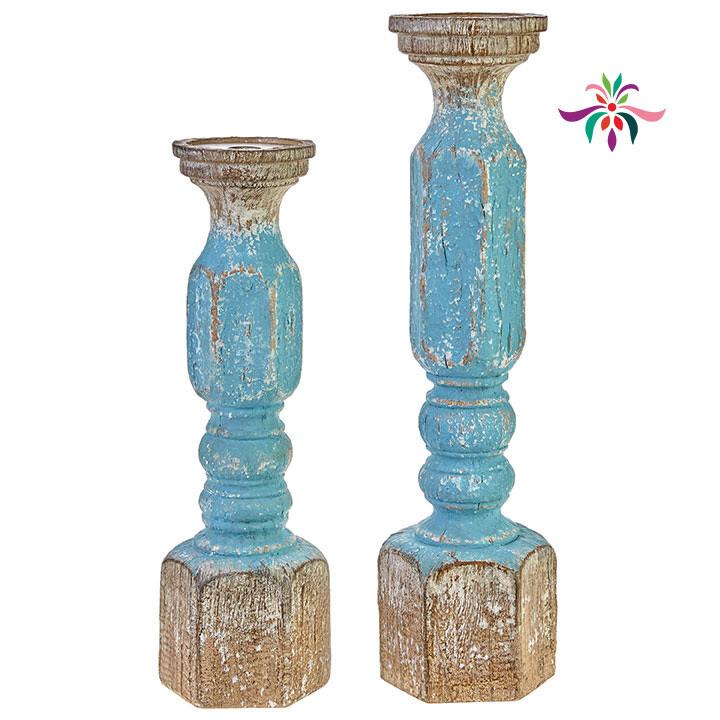 "Candle Holder - Turquoise Wood - Large - 19.25""H"