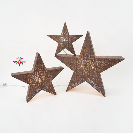 "Bronze Lattice Star Light - Warm White LED - Medium - 29""H"