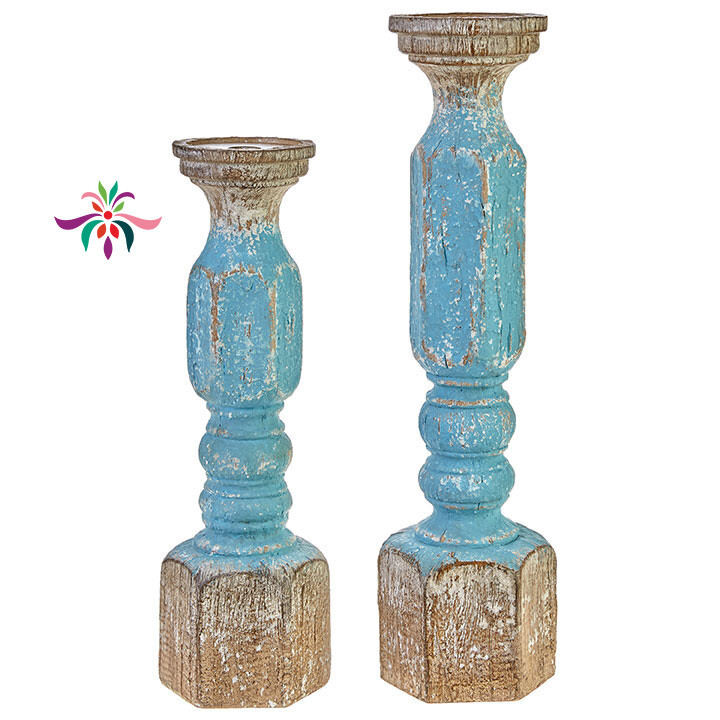 "Candle Holder - Turquoise Wood - Small - 16.25""H"