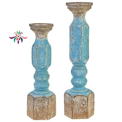 Candle Holder - Turquoise Wood - Small - 16.25
