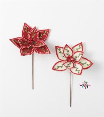 Embroidered Poinsettia Pick - White - 16