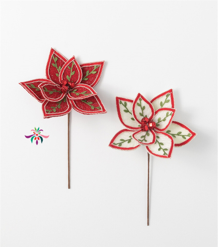 "Embroidered Poinsettia Pick - Red - 16""L x 10""W"