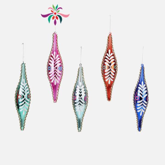 """Finial Glass Ornament - Pink - 12""""L"""