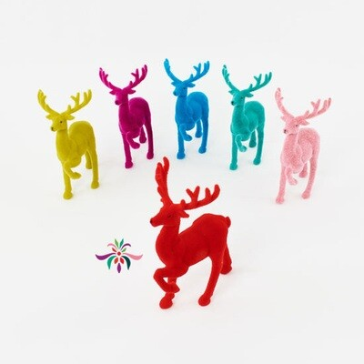 Flocked Deer - Red - 12