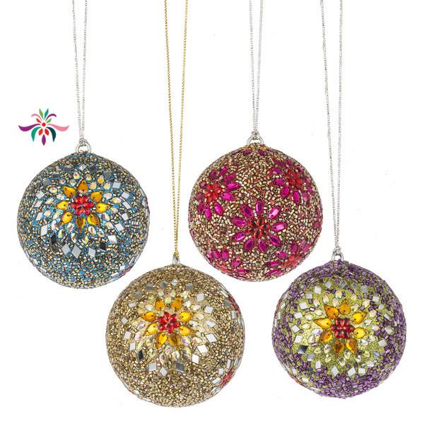 """Gem Ball Ornament - Blue - 3""""Dia"""