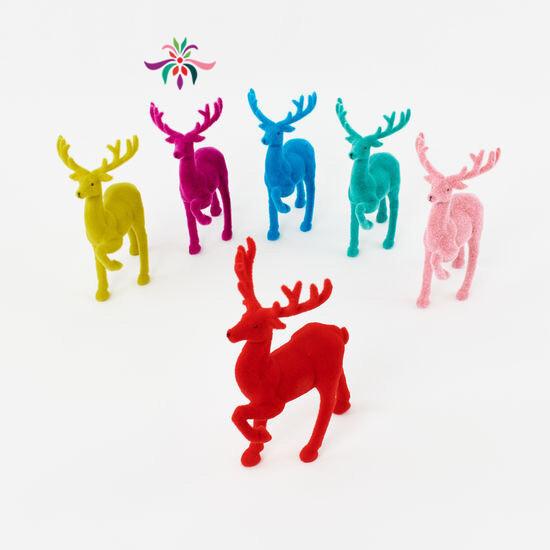 "Flocked Deer - Fuschia - 12""H"