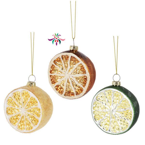 """Fruit Slice Ornament - Orange - 3""""Dia"""