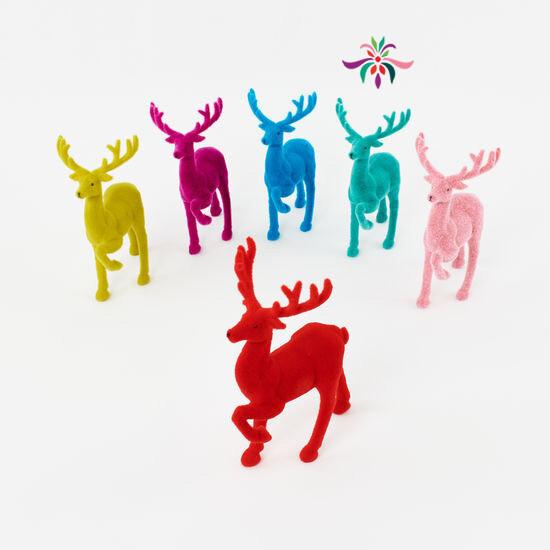 """Flocked Deer - Green - 12""""H"""