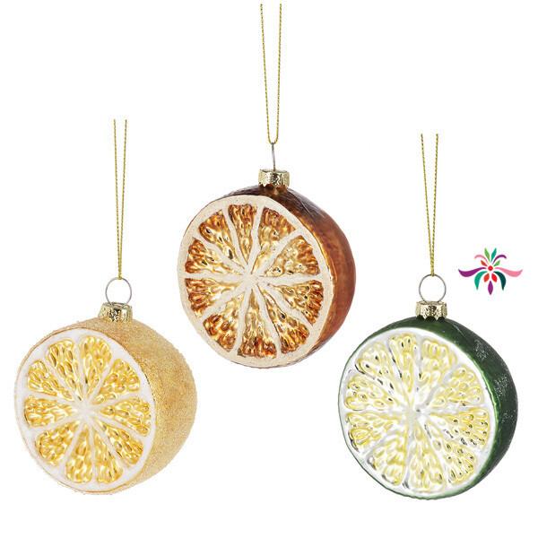 "Fruit Slice Ornament - Green - 3""Dia"