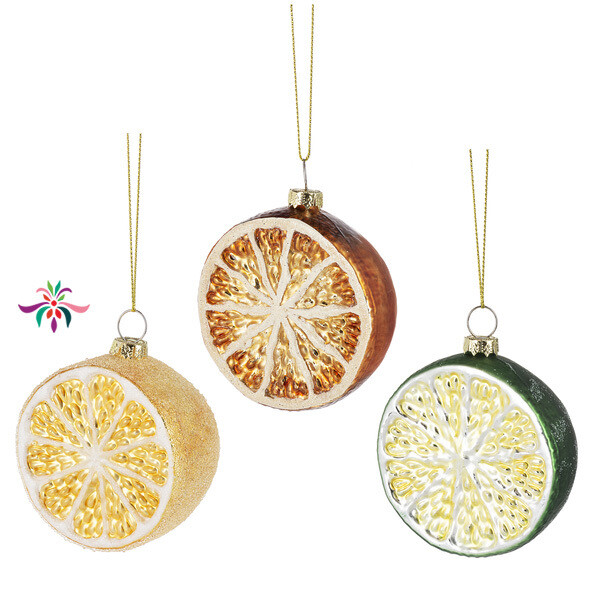 "Fruit Slice Ornament - Yellow - 3""Dia"