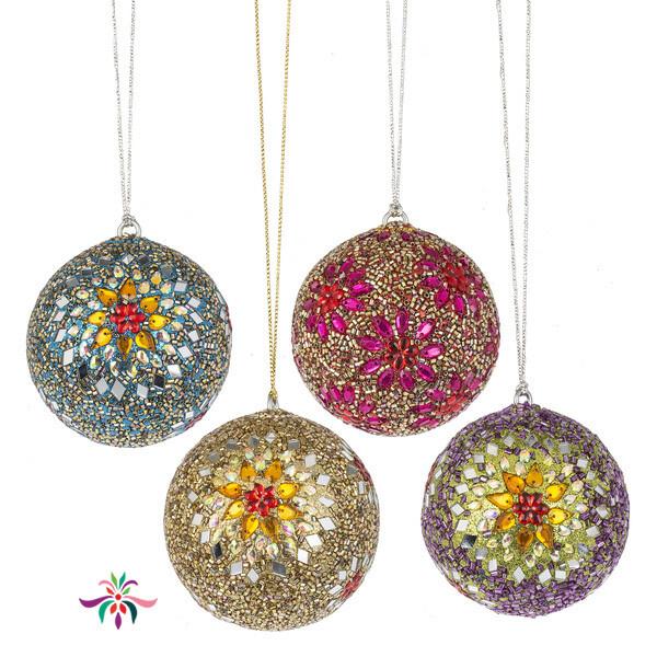 "Gem Ball Ornament - Yellow - 3""Dia"