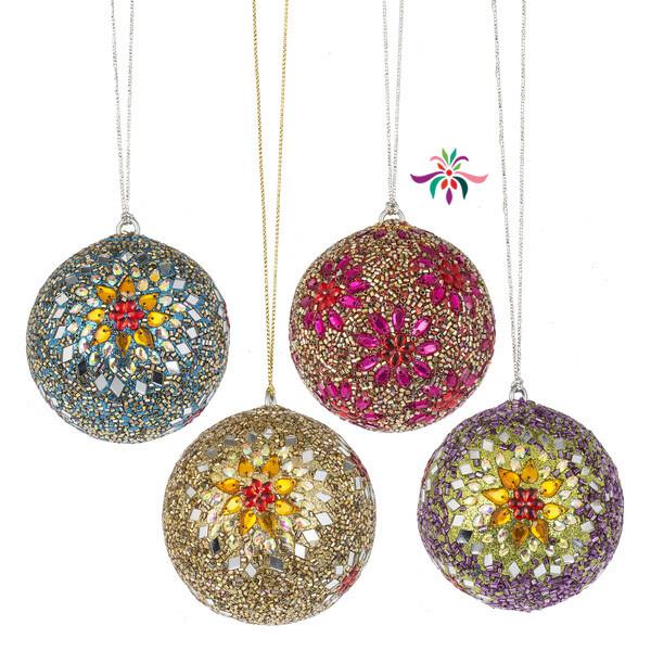 "Gem Ball Ornament - Pink - 3""Dia"