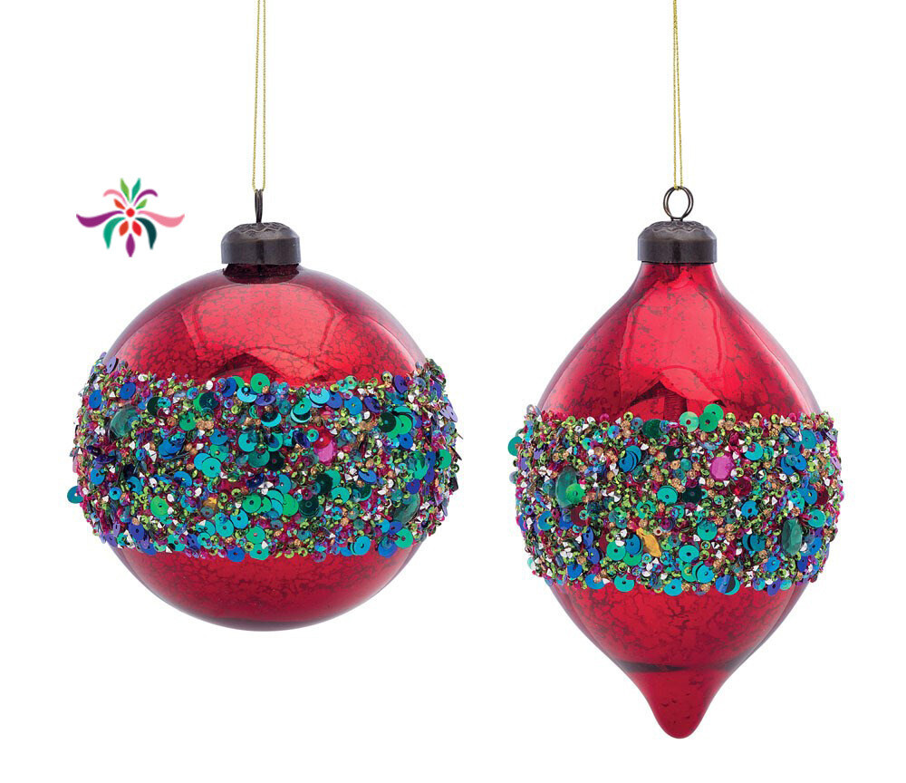 """Glass & Sequin Ball Ornament - Red & Green - 5.5""""Dia"""