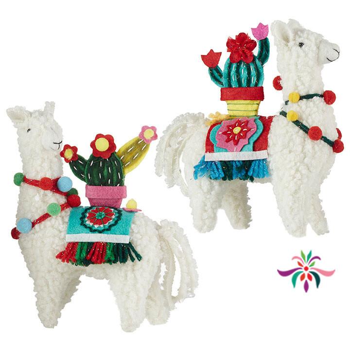 "Llama Ornament - Blue & Aqua Fringe - 6.5""H"