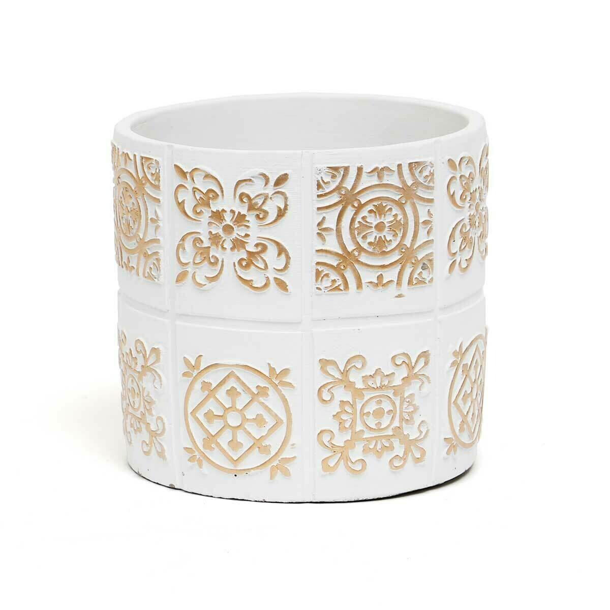"Medallion Concrete Pot - White & Beige - Medium  - 5.75""H x 5.25""W"