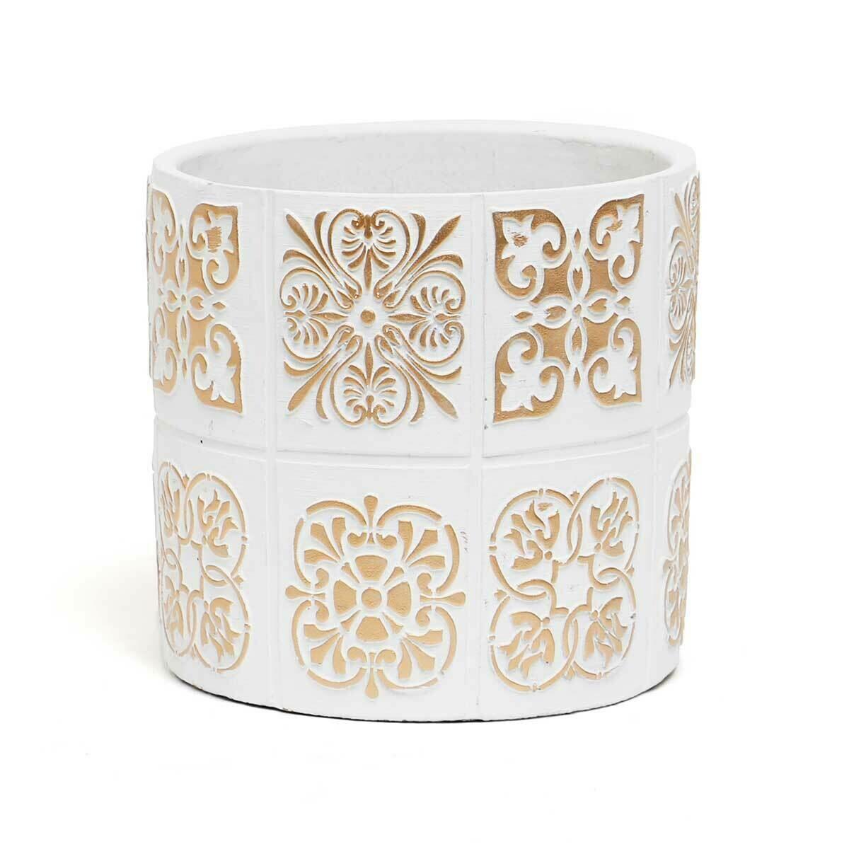 """Medallion Concrete Pot - White & Beige - Large - 7""""H x 6.5""""W"""