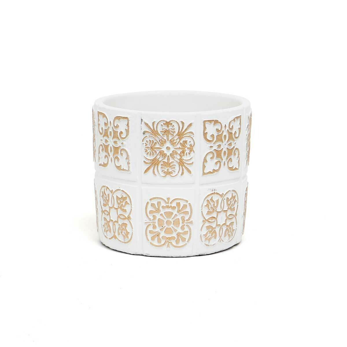 "Medallion Concrete Pot - White & Beige - Small  - 4.5""H x 4.25""W"