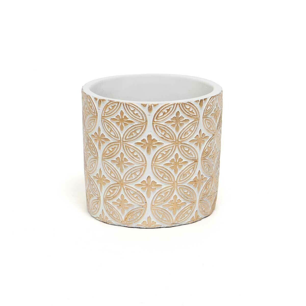 """Crest Concrete Pot - White & Beige - Small - 4.5""""H x 4.25""""W"""