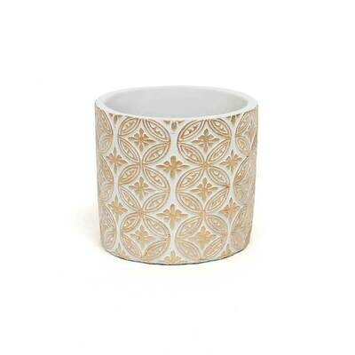 Crest Concrete Pot - White & Beige - Small - 4.5