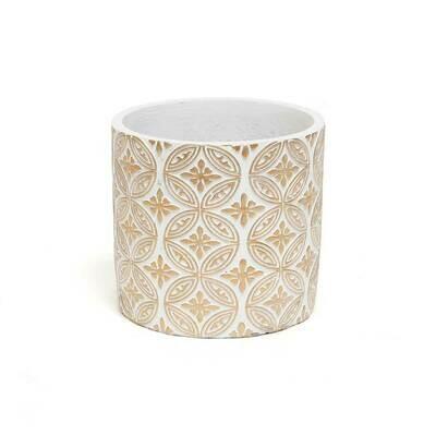 Crest Concrete Pot - White & Beige - Medium  - 5.75